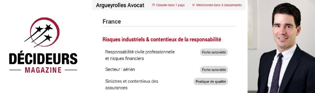 Argueyrolles Avocat intègre les classements de cabinets d'avocats en assurances